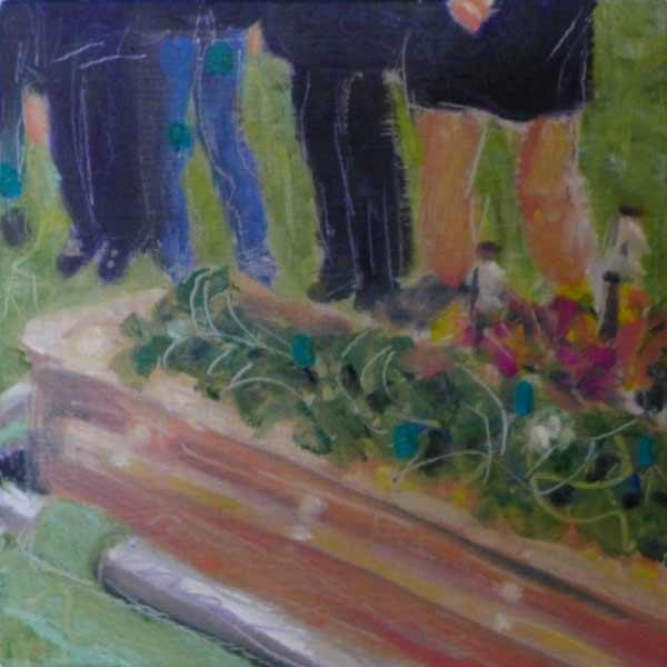 cedar casket, burial, graveyard