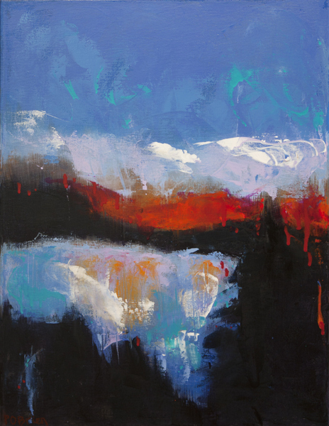 Colorful oil paintings, abstract landscape painting, abstract West Coast skies
