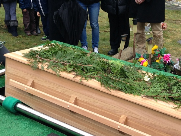 cedar casket, natural burial