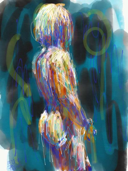 digital painting, loose nude life drawing