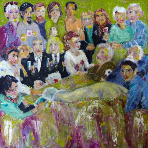 end of life artwork, visitors at bedside scene