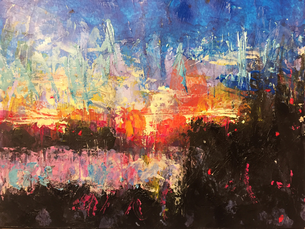 abstract sunrize painting, abstract landscape painting by Paula O'Brien