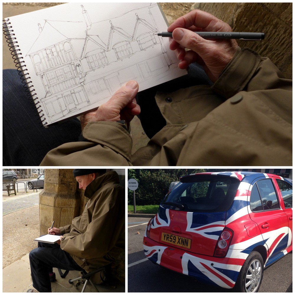 urban sketching in UK, Union Jack mini, palliative travel