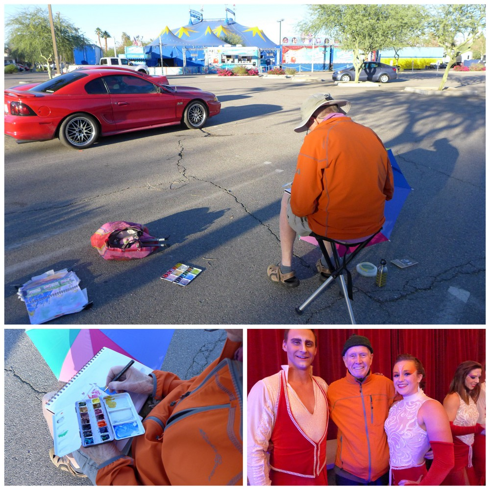 urban sketching, circus vargas, Palm Springs, palliative travel