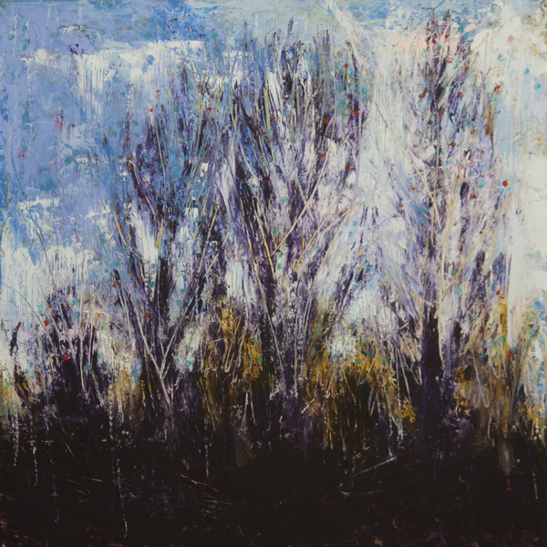 winter woods painting, abstract landscape painting by Paula O'Brien, cold wax abstract landscape