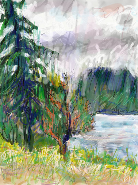 west coast landscape painting, canadian artist, British Columbia artist, digital painting