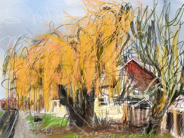 golden willow tree in autumn, digital plein air painting, fall colors, farmhouse