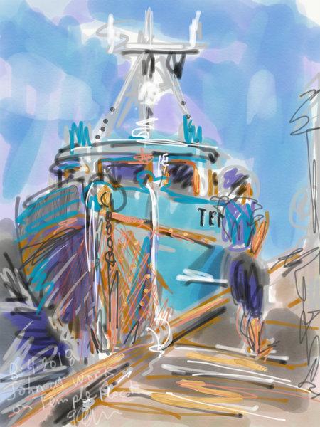 digital urban sketching, sketching fishing boats, plein air painting fishing boats, west coast art