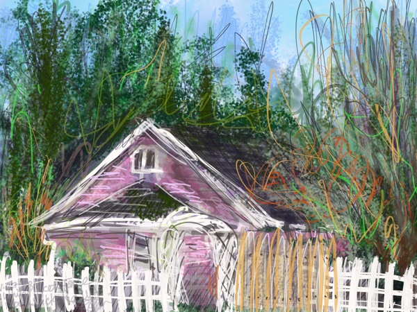 pink cottage, pink farmhouse painting, digital plein air painting