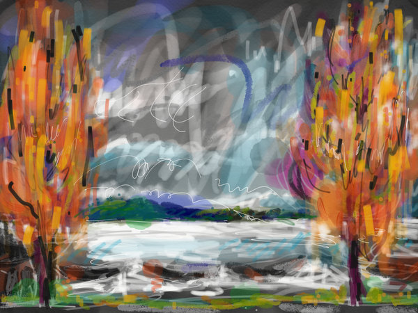 abstract skyscape painting, digital sky painting, painting autumn colors