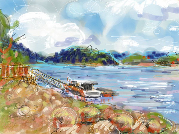 digital plein air painting, west coast landscape