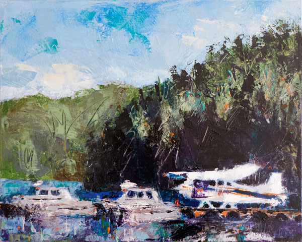 plein air palette knife landscape painting, fishing boats and seaplane in Powell River, British Columbia