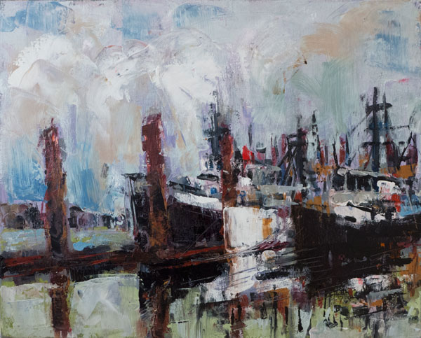 palette knife oil painting, west coast landscape, fishing harbor, fishing boats, oil painting skyscape, oil painting seascape
