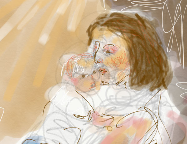 digital urban sketching mother and baby in cafe, plein air digital painting