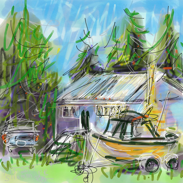 digital painting, BC west coast landscape painting, plein air painting, small town, rural living, house with fishing boat