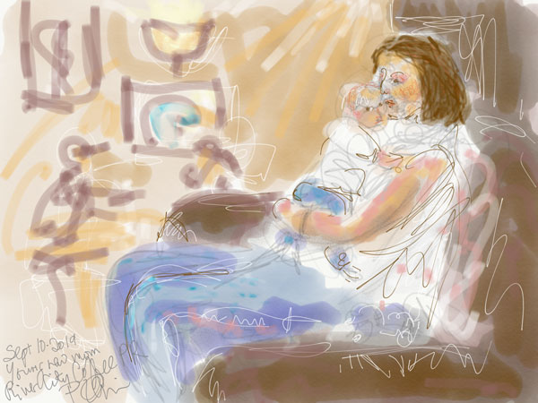 digital urban sketching mother and baby